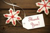 Christmas Star Cookies with Thank You Label — Stock Photo