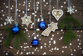 Different Christmas Decorations on Wood — Stock Photo