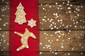 Ginger Bread Background with Snow — Stock Photo