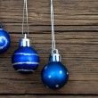 Three Blue Christmas Balls — Stock Photo #53587177
