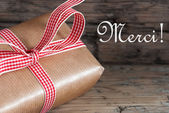 Rustic Gift with Merci — Stock Photo