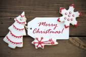 Red Merry Christmas on a white Label — Stock Photo