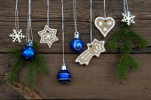 Winter Decorations on Wooden Background — Stock Photo