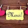Merci on a Tag Framed By Hearts — Stock Photo #54107149