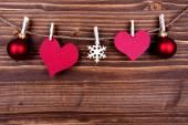 Puste serce Tagi i świątecznych dekoracji na etykiecie — Zdjęcie stockowe
