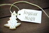 Christmas Label with Joyeux Noel — Stock Photo