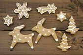 Ginger Bread Reindeers, Stars, Snowflakes and Trees — Stock Photo