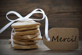 Ginger Bread Cookies with Merci Label — Stock Photo