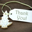 Christmas Cookie with Thank You — Stock Photo #54730529