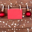 Christmas Decoration with Label with Copy Space on Wood — Stock Photo #56189879