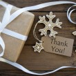 Thank You on a Tag with Christmas Decoration — Stock Photo #56189973