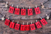 Happy Birthday on Red Tags — Stockfoto
