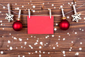Christmas Decoration with Label with Copy Space on Wood — 图库照片