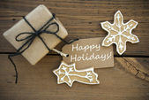 White Happy Holidays on a Banner with Christmas Decoration — Foto Stock