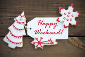 Red Happy Weekend with red white Christmas Decoration — 图库照片
