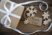 Thank You on a Tag with Christmas Decoration — Stockfoto