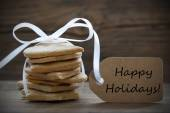 Ginger Bread Cookies with Label with Happy Holidays — Stockfoto