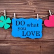 Blue TagWith Phrase Do What You Love On It Hanging on a Line — Stock Photo #56952809