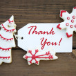 Red and White Christmas Thank You Label — Stock Photo #56952903