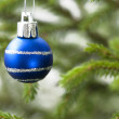 Closeup Of A Blue Christmas Ball — Stock Photo #56952915