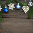 Christmas Decoration Hanging on Wood with Copy Space — Stock Photo #56952941