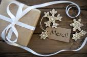 Christmas Decoration Background with Merci Tag — Stock Photo
