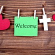 Green Tag Saying Welcome — Stock Photo #57689889