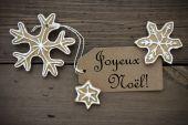 Ginger Bread Stars with Joyeux Noel Label — Stock Photo