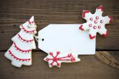 Empty Label with Red White Christmas Cookies — Foto de Stock