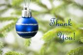 Blue Christmas Ball on Christmas Tree Branch with Thank You Text — Stock Photo