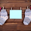 Blue Label With Baby Socks And Copy Space And Hearts — Stock Photo #59486343