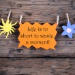 Orange Label With Life Quote Life Is To Short To Waste A Moment — Stock Photo #59486409