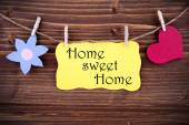 Yellow Label With Life Quote Home Sweet Home — Stock Photo
