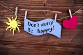 Blue Label With Life Quote Dont Worry Be Happy — Stock Photo