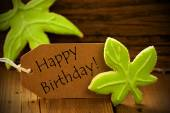 Brown Organic Label With English Text Happy Birthday — Stock Photo
