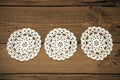 Three White Round Place Mat In A Row — Stock Photo