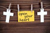 Yellow Label With Life Quote Open Your Heart — Стоковое фото