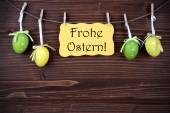 Yellow Label With Four Easter Eggs And Frohe Ostern — Stock Photo