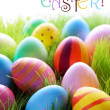 Many Colorful Easter Eggs On Green Grass With Text Happy Easter — Stock Photo #62008117