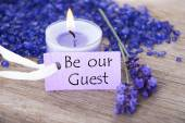 Purple Label With Text Be Our Guest And Lavender Blossoms — Zdjęcie stockowe