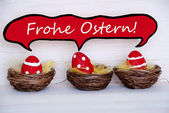 Three Red Easter Eggs With Comic Speech Balloon Frohe Ostern Means Happy Easter — Stock Photo