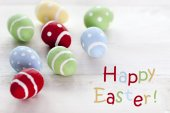 Many Colorful Easter Eggs With English Text Happy Easter — Stock Photo
