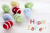 Many Colorful Easter Eggs With English Text Happy Easter — Foto de Stock