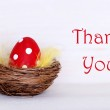 One Red Easter Egg In Nest With Thank You — Stock Photo #63887165