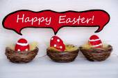Three Red Easter Eggs With Comic Speech Balloon Happy Easter — Stock Photo