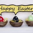 Three Colorful Easter Eggs With Comic Speech Balloon Happy Easter — Stock Photo #64454231