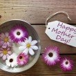 Silver Bowl With Cosmea Blossoms With Text Happy Mothers Day — Stockfoto #64453845