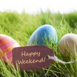 Happy Easter Background With Colorful Eggs And Label With Text Happy Weekend — Stock Photo #64454147