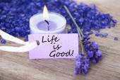 Purple Label With Life Quote Life Is Good And Lavender Blossoms — 图库照片