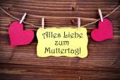 Yellow Label With Alles Liebe Zum Muttertag — Stock Photo